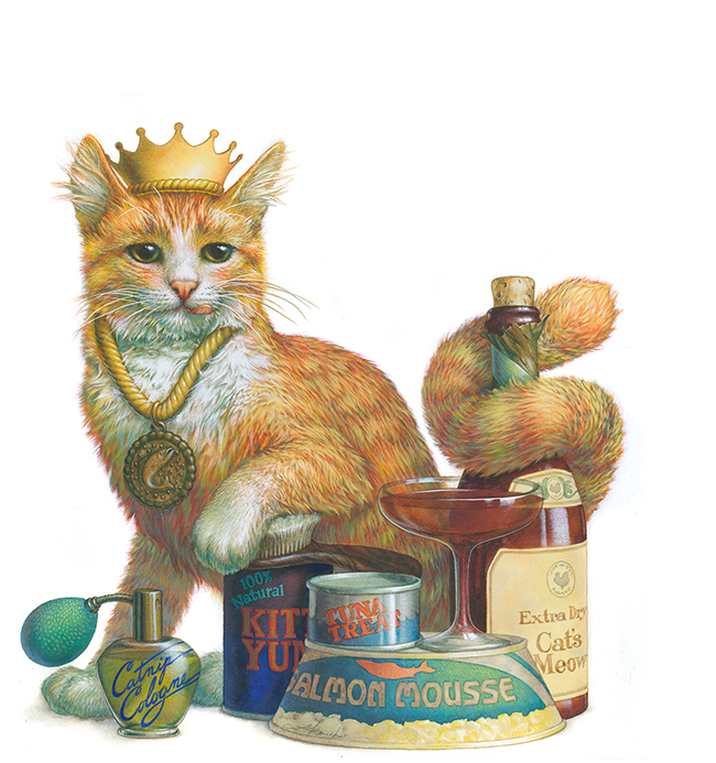 Pampered Cat, Crocker Bank Company Magazine, gouache