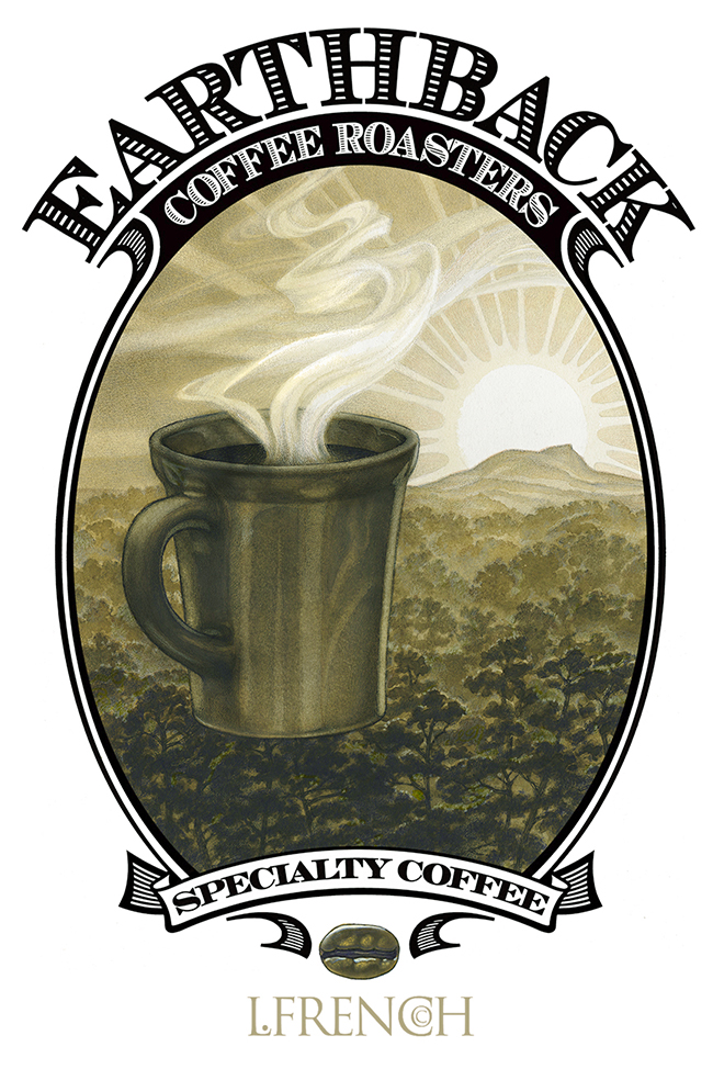 Earthback Coffee logo, charcoal & ink wash