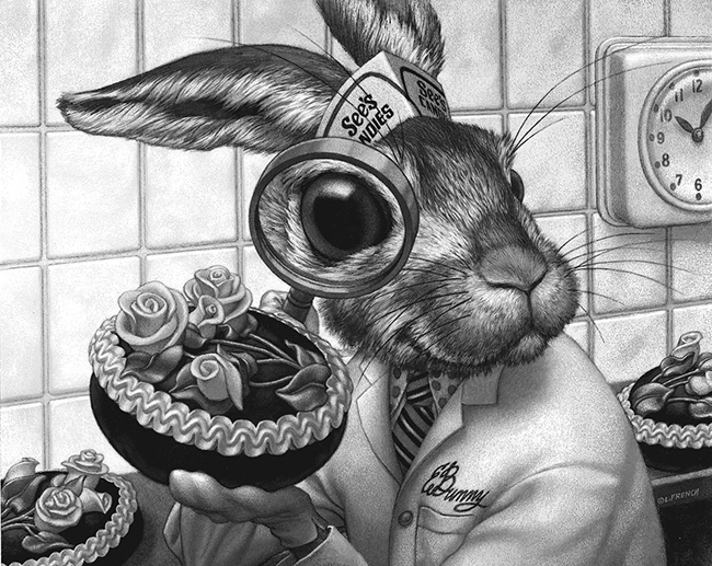Professor E. Bunny, See's Candies newspaper ad, acrylic