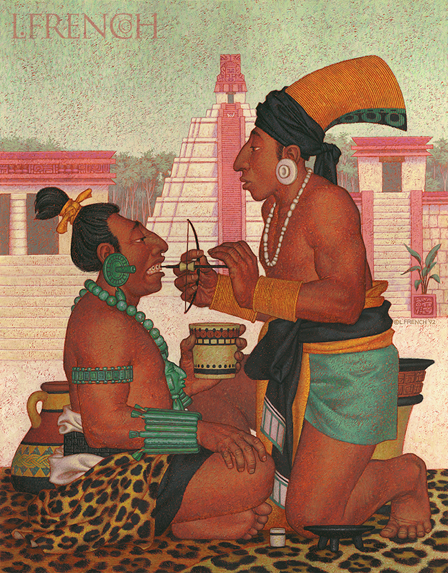Mayan Dentistry, Anaprox direct mail campaign, gouache