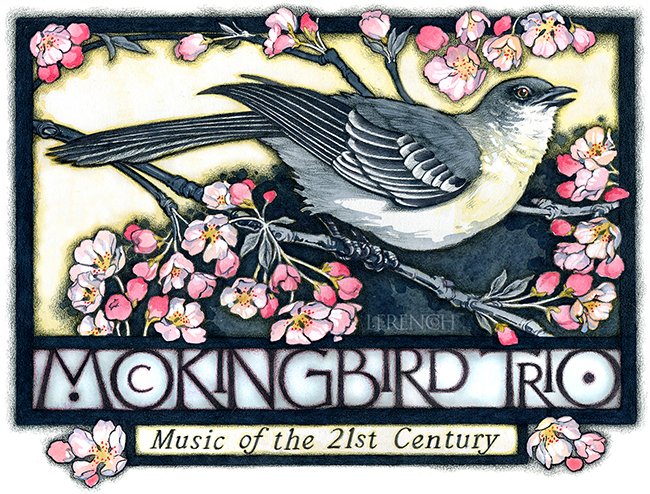 Mockingbird Trio, logo & advertising, watercolor & charcoal
