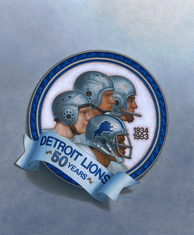 Detroit Lions Logo for the NFL, gouache