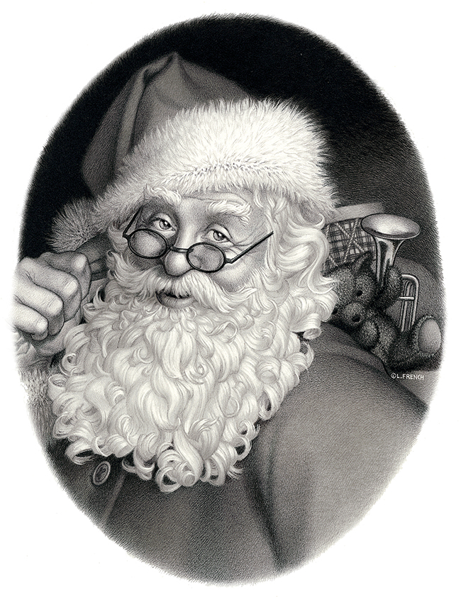 Santa, See's Candies, pencil