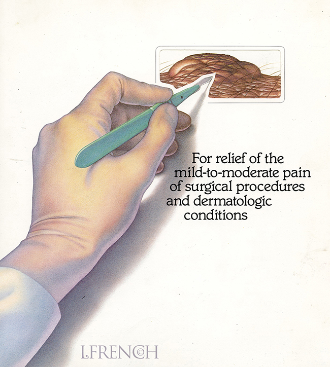 Scalpel, for Anaprox pain reliever brochure
