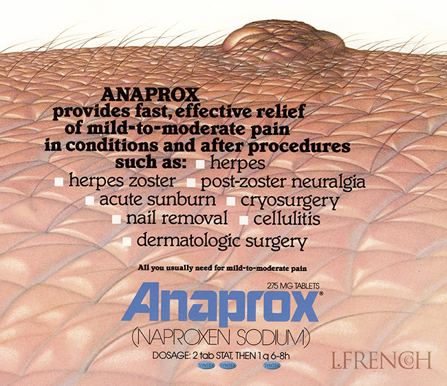 Mole, for Anaprox pain reliever brochure