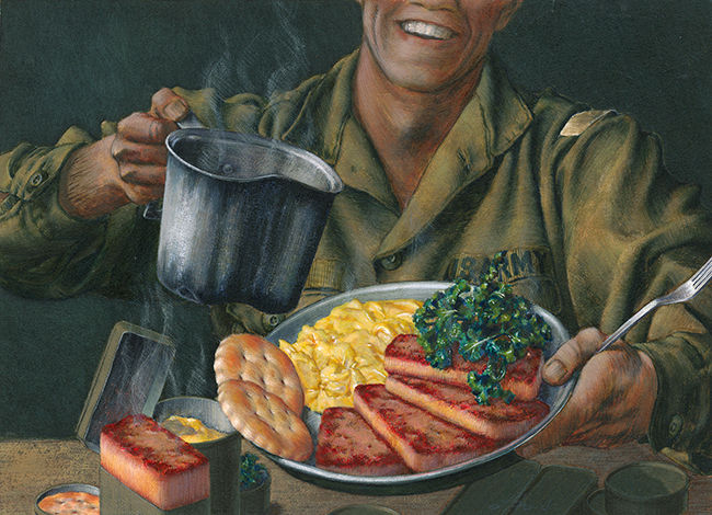 Soldier's Joy: Spam, gouache