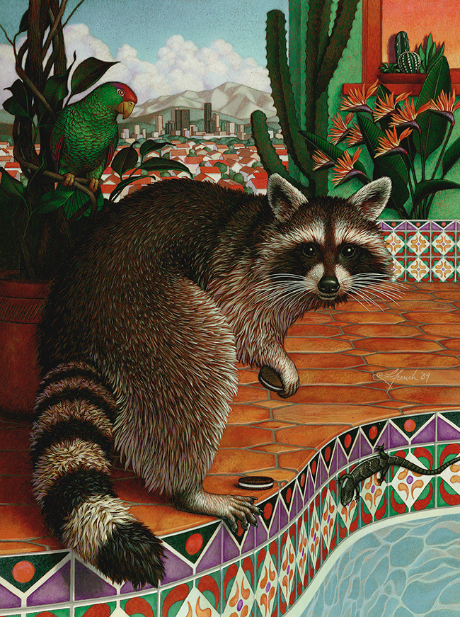 Suburban Wildlife, Los Angeles Magazine, gouache