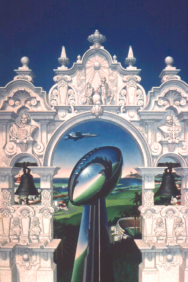 NFL Super Bowl XXII in San Diego, theme art, gouache