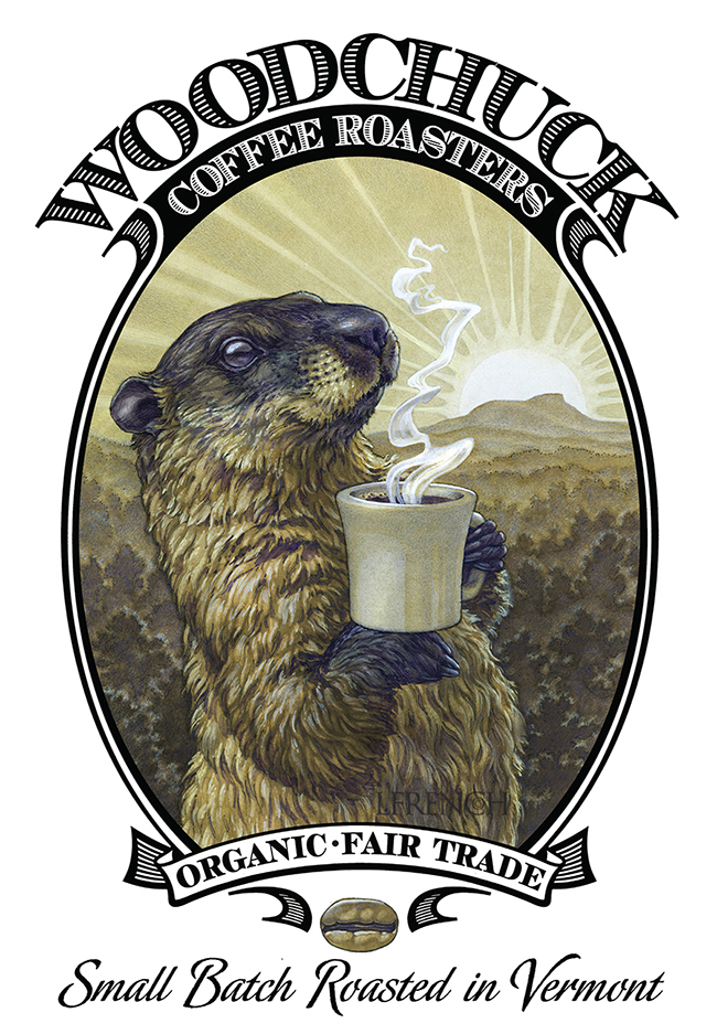Woodchuck Coffee Roasters, logo & packaging, charcoal & ink wash