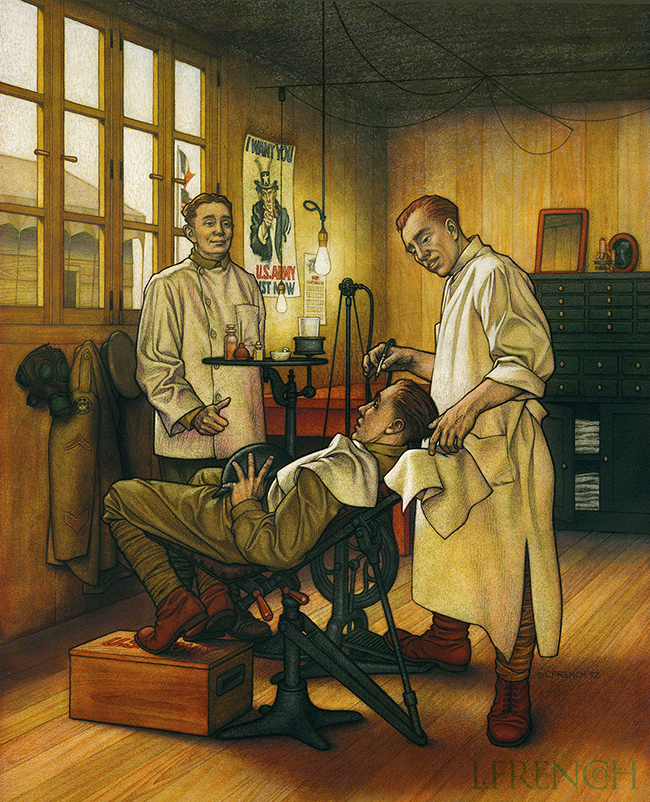 WWI Dentistry, Anaprox direct mail campaign, charcoal & gouache
